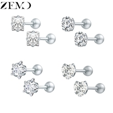 ZEMO 4 Pair Star Earrings Studs for Women Heart Silver Ear Studs With Cubic Zircon Female Round Ear Piercing Jewelry Party Gift цена