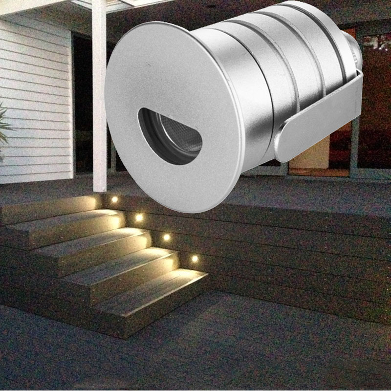 Round Led Recessed Light Wall Lamp 1w 12v Decoration Led Basement Bulb Porch Pathway Step Stair Light 12pcs/lot Dhl Shipping image