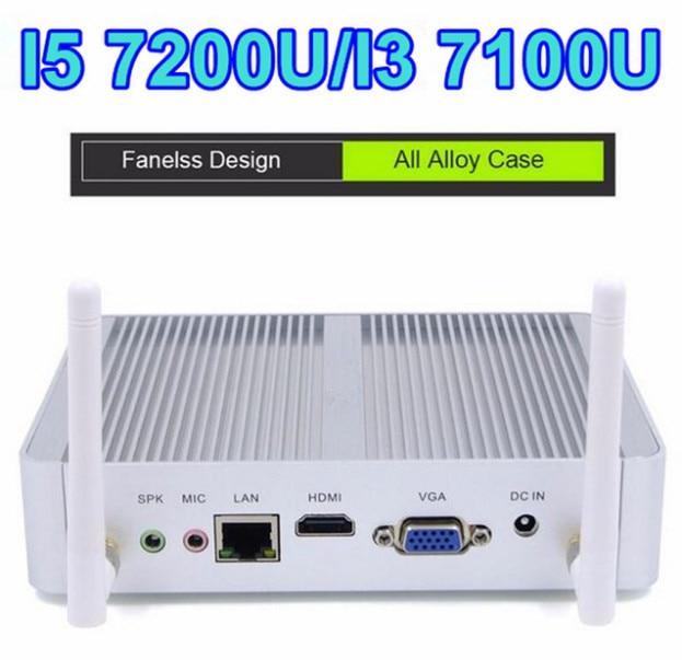 Fanless Nuc Core I5 7200U I3 7100U DDR3L Memory Mini PC Linux Windows 10 Graphics HD 620/520 4K HTPC HDMI VGA Computer