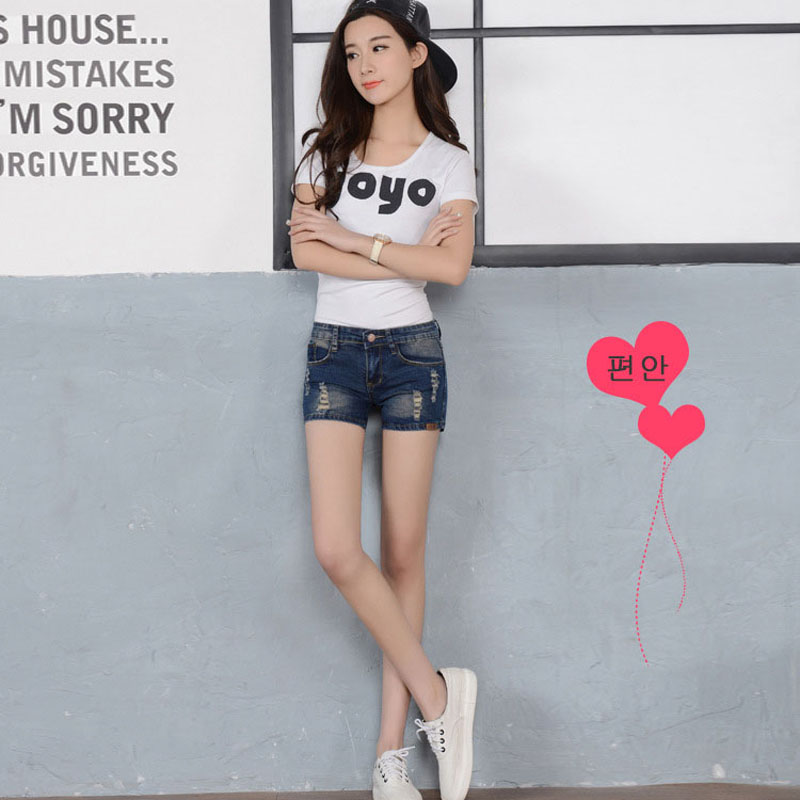 Aliexpress.com : Buy 2017 Women Dark Blue Shorts Ripped Skinny ...