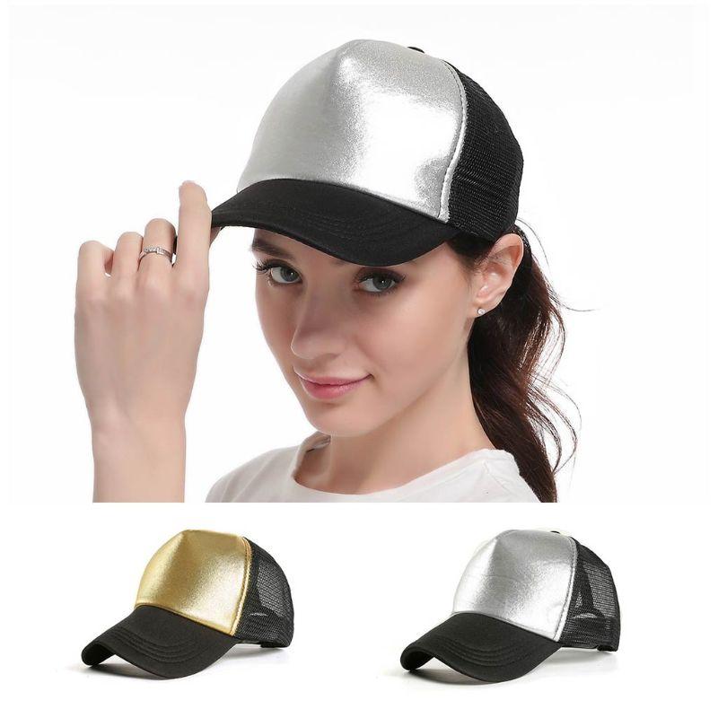 Minimalist Women Men Metallic Hot Silver Gold Glitter Baseball Cap Adjustable Mesh Splicing Back Breathable Hip Hop Trucker Hat in Women 39 s Baseball Caps from Apparel Accessories