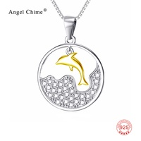 White Crystal Gold Jumping Dolphin Pendant 925 Sterling Silver Collar Necklaces Cute Women Animal Pattern Statement Necklace