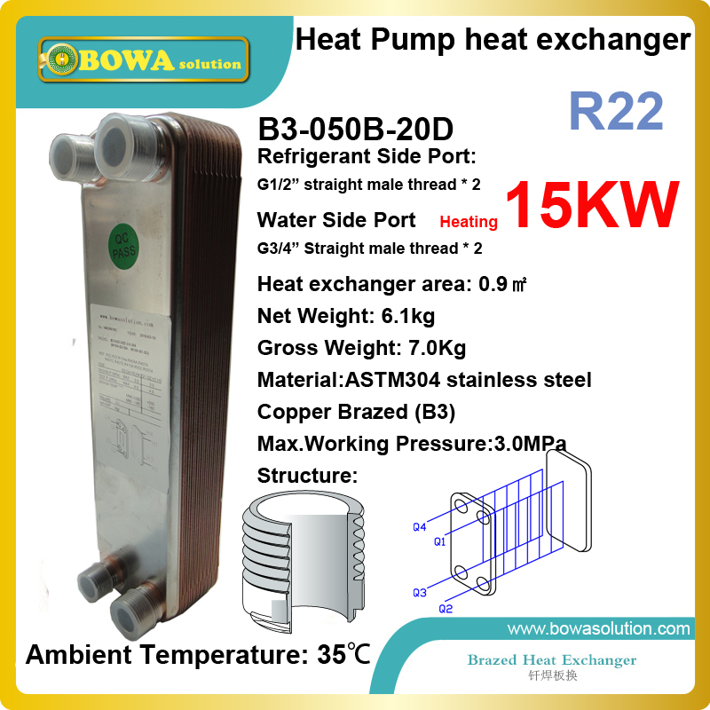 15KW (R22 or R417a) heat transfer capacity in heat pump working conditions, i.e. 55'C condensing temp. and 5'C evaporating temp. 11kw heating capacity r410a to water and 4 5mpa working pressure plate heat exchanger is used in r410a heat pump air conditioner