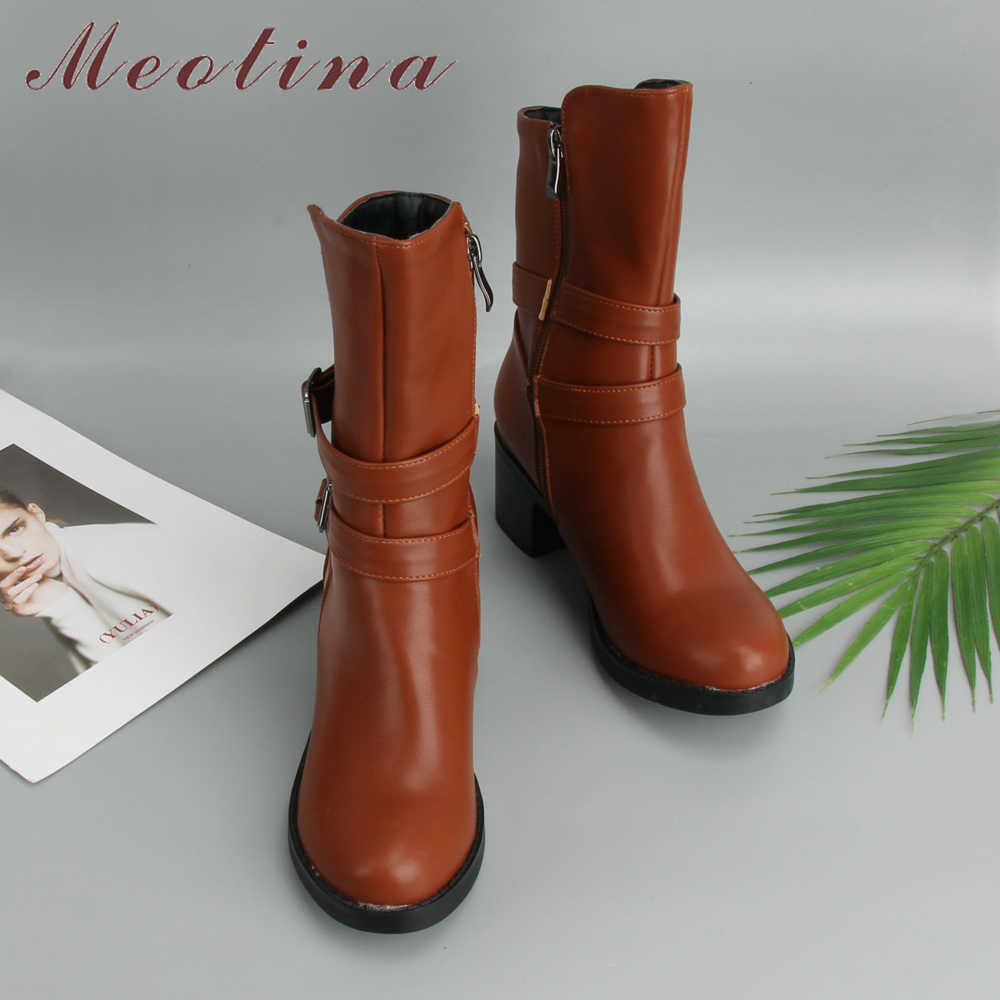 047e9c9069f ... Meotina Mid Calf Boots Women Button Winter Boots High Heel Boots Square Heel  Zipper Shoes Ladies ...