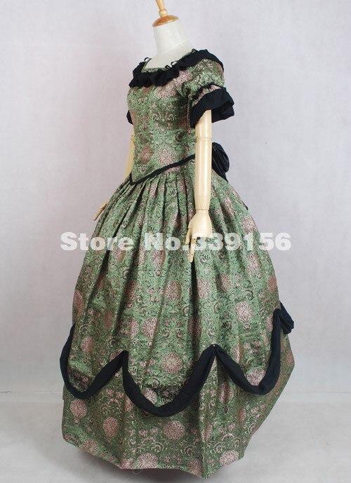 Période De Vert Renaissance As Victorienne Imprimé Bal Adulte Médiévale fin Floral Robe Costume Picture Reconstitution Haute Femmes Brocade EIY2D9eWH