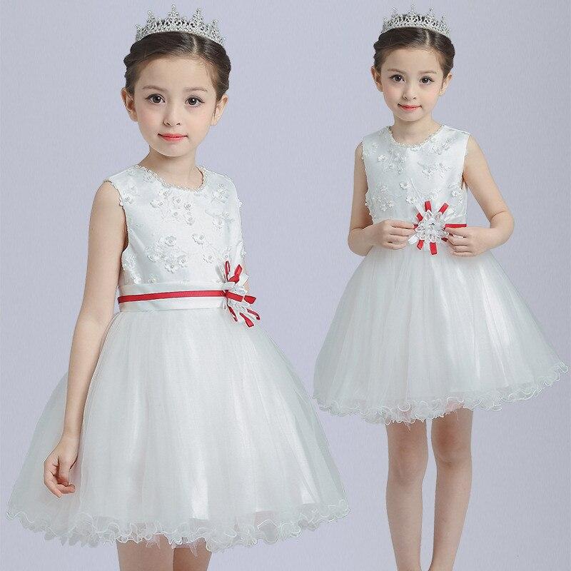 Summer Kids Girls Birthday Party Wedding Princess tutu Dress For Girls Clothes Mesh Flowers Children Bridesmaid Elegant Dress