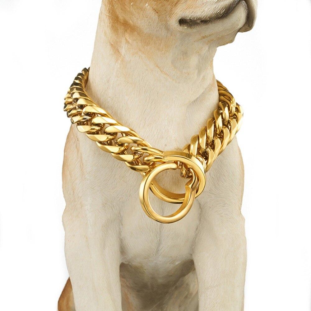 18mm Chien Pet Collier de Sécurité Anti-perdu Chaîne Collier En Or Pied Formation Laisse Chiens Harnais Collier Vente Chaude bijoux En Gros