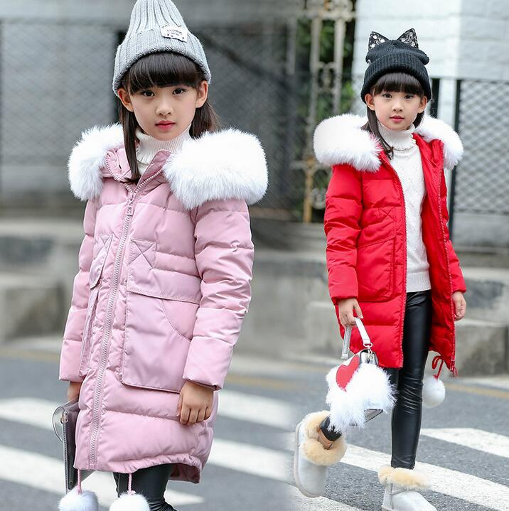 2018 Fashion Children Winter Jacket Girl Winter Coat Kids Warm Thick Fur Collar Hooded long down Coats For Teenage parkas 5-14Y winter jacket women 2017 mid long thicken warm cotton padded down parkas coat faux fur collar hooded jacket for girl