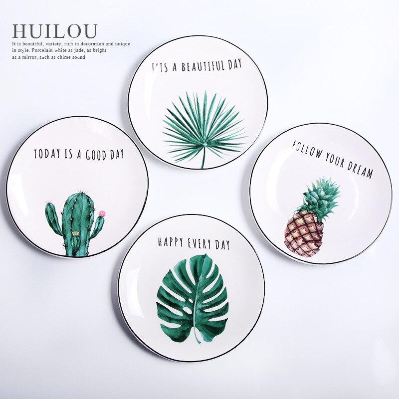 4 pièces plantes vertes porcelaine dîner assiette 8 pouces vaisselle dîner ensemble plantes vertes en céramique dessert assiette vaisselle gâteau assiette