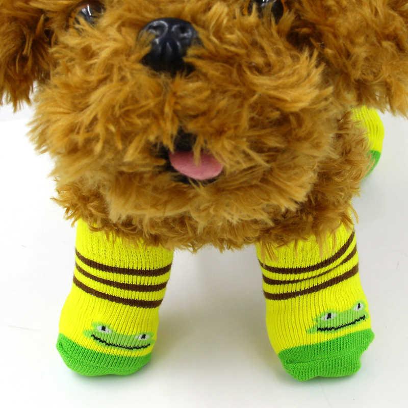 4 stks/partij Warme winter antislip Huisdier Puppy Sok Katoen breien wol Hond Sokken slijtvast kleine hond indoor schoenen ZL225-6