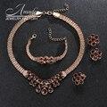 Amader Свадьба Позолоченные Ожерелье Изящных Ювелирных Изделий Партии Женщины Африканские Бусы Свадебные Кольца Браслет Серьги Аксессуары