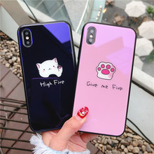 ФОТО cat case for iphone x cute cartoon cat's claw glass phone case on for iphone x hard cover for iphone 6 6s 8 7 plus case funda