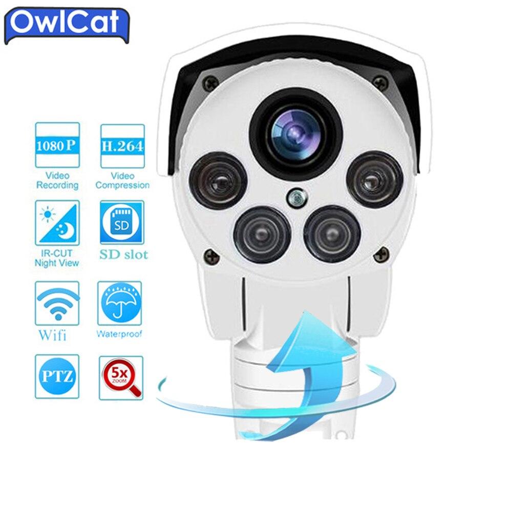 OwlCat SONY HD 1080 p Bullet PTZ IP Caméra WIFI En Plein Air 5X Zoom Audio Microphone de Sécurité CCTV Caméra IR Onvif mémoire Fente Onvif