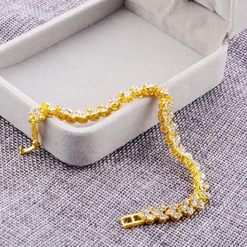 Women Silver Rose Gold Bracelet for Female Crystal Heart Charm Bracelet Women Bridal Wedding Fine Jewelry Gift 4