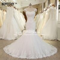 Vestido De Novias Mermaid Lace Wedding Dress Long Train Crystal Vintage Bridal Dresses 2019 Robe De Mariage Lace Wedding Gown