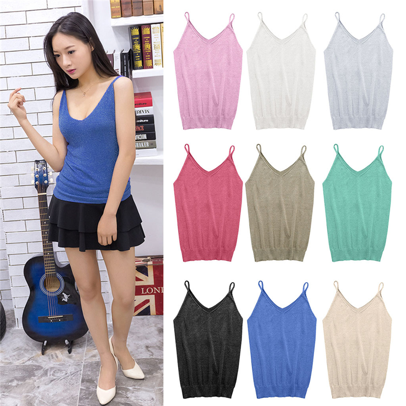 Women Summer Icecream Camisole Bruiser Crop Top Glettering Knitted Stretch Slim Tank Top