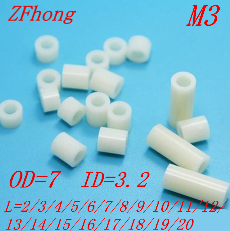 500pcs pcb board spacer <font><b>M3</b></font>*2/3/4/5/6/7/8/9/10/11/12/13/14/15/16/17/18/19/20 <font><b>3mm</b></font> Non-Threaded Nylon ABS Round Hollow Standoff image