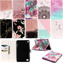 Funda Capa For Amazon Kindle Fire 7 inch 7th Fashion Marble Pattern Leather Wallet Flip Case Tablet Ebook Cover Coque Skin Cases 2017 new kindle fire 7 inch pu leather tablet case cover slim colorful print funda for amazon fire 7 fire7 2015 smart stand skin