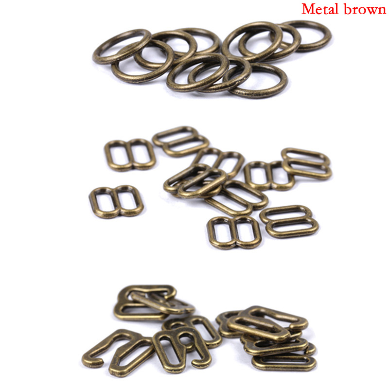 200Pcs Metal Silver Bra Strap Adjuster Slider Hook Lingerie Buckle Clips
