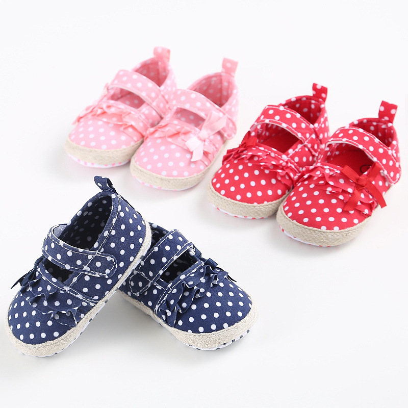 First Walker Newborn White Bowknot Dot Baby Girl Lace Shoes Baby Shoes Toddler Prewalker Anti-slip Shoe Mother & Kids