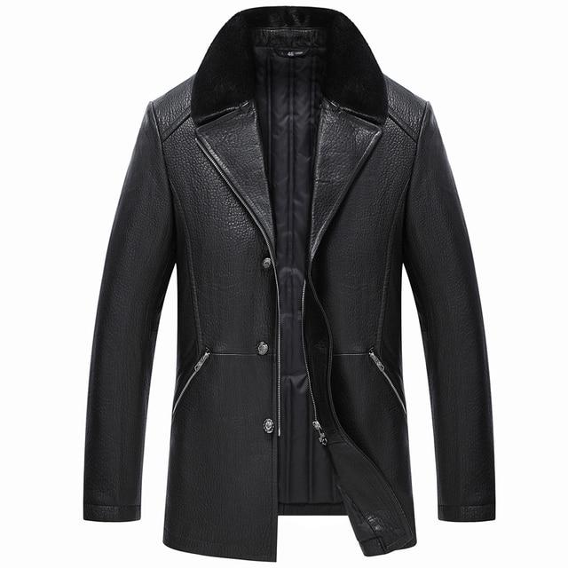 Men's Genuine Leather Jacket Double-Face Fur Coat Sheepskin Jacket Fashion Long Section Casual Coat Turn-down Collar GSJ368