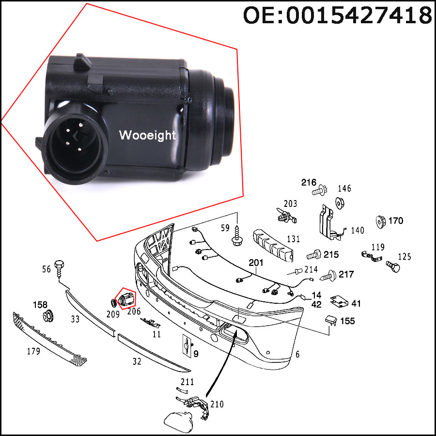 0045428718 PDC Parking Sensor for Mercedes Benz W203 W209 W210 W211 W220*4pcs