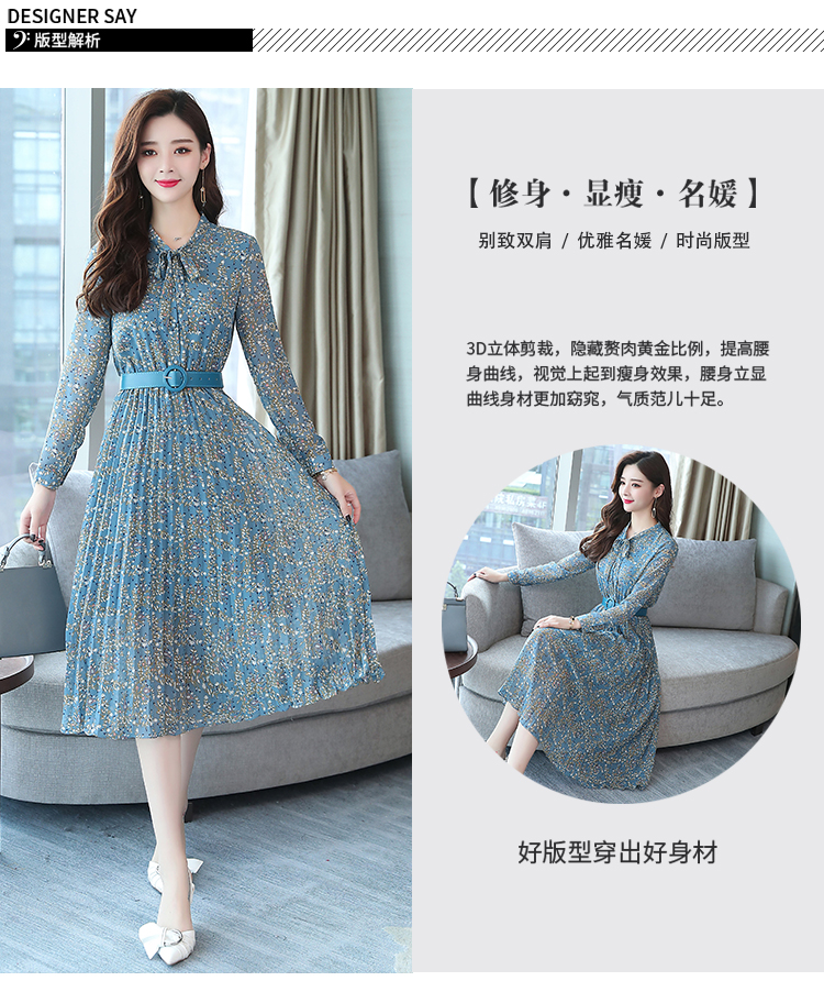 2019 Autumn Winter Vintage Chiffon Floral Midi Dress Plus Size Maxi Boho Dresses Elegant Women Party Long Sleeve Dress Vestidos 66