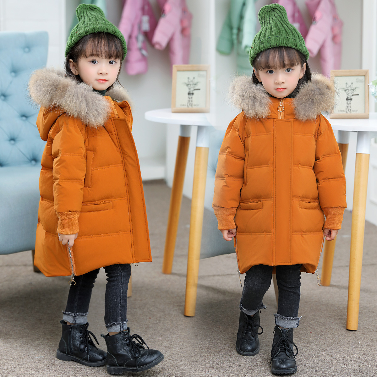 Baby Girls Winter Coat 2-8Y Children Big Fur Hooded White Down Jacket Kids Girl Warm Outwear Baby Girls Fashion Clothes