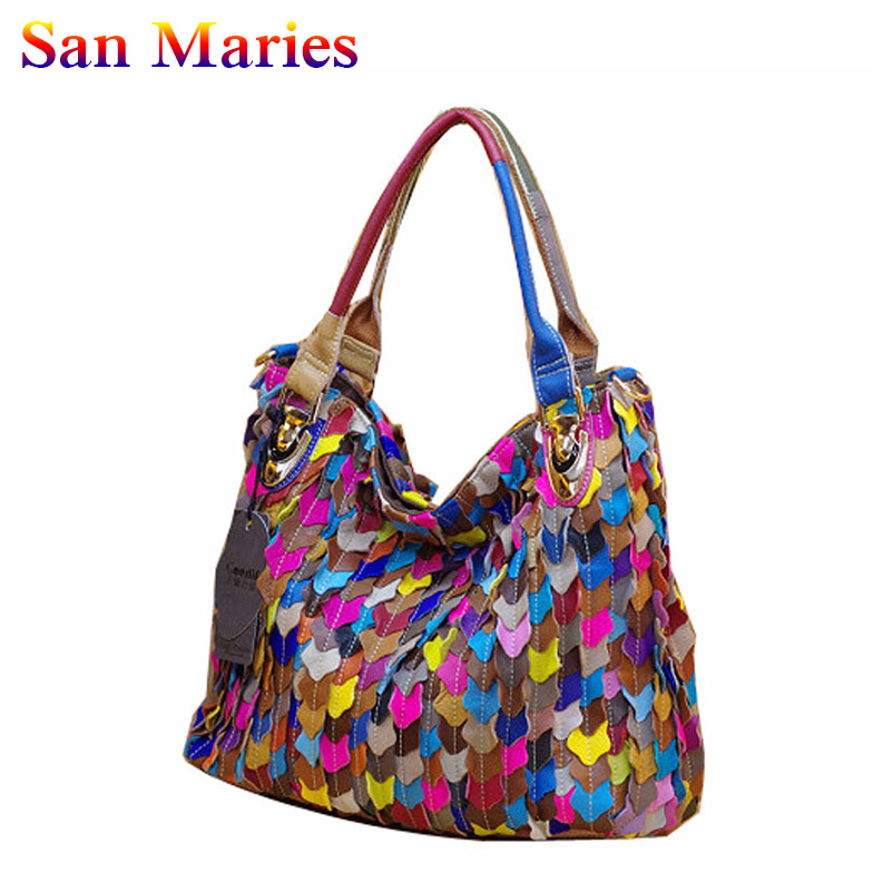San Maries Women Cow Leather Handbags 2019 Womens Casual Tote Bags Female Patchwork HandbagsSan Maries Women Cow Leather Handbags 2019 Womens Casual Tote Bags Female Patchwork Handbags