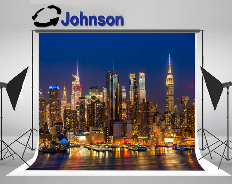 New York City Skyline Manhattan Midtown Buildings Night backdrop Vinyl cloth High quality Computer print party backgrounds