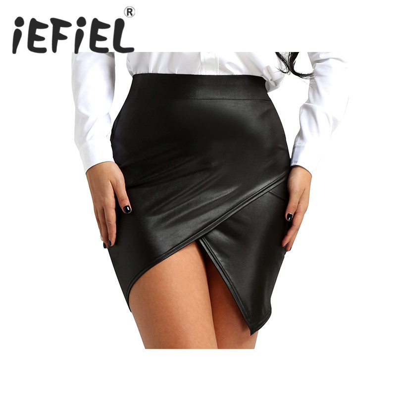 New Arrival Women Black Wet Look Faux Leather High Waist Asymmetric Side Slit Bodycon A-Line Pencil Skirt for Clubwear Costumes