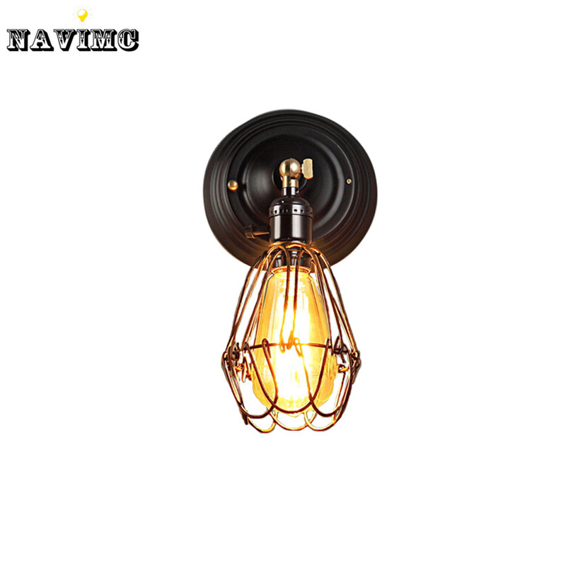 Wire Cage Wall Light Sconce Edison Industrial Lamp 110V240V Art Deco For Bathroom
