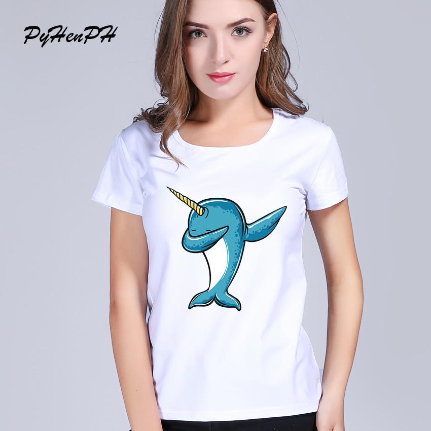 Dabbing Narwhal T shirt Women Dab Dance Animal Hot Sale T Shirts Female Fashion Summer Tee shirt femme tumblr Women clothing