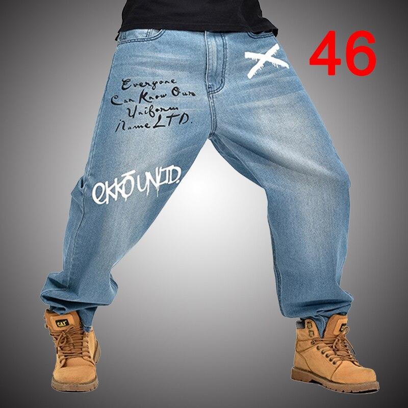 Baggy   Jeans   Men Denim Pants Loose Streetwear   Jeans   Hip Hop Casual Print Skateboard Pants for Men Plus Size Trousers Blue S96