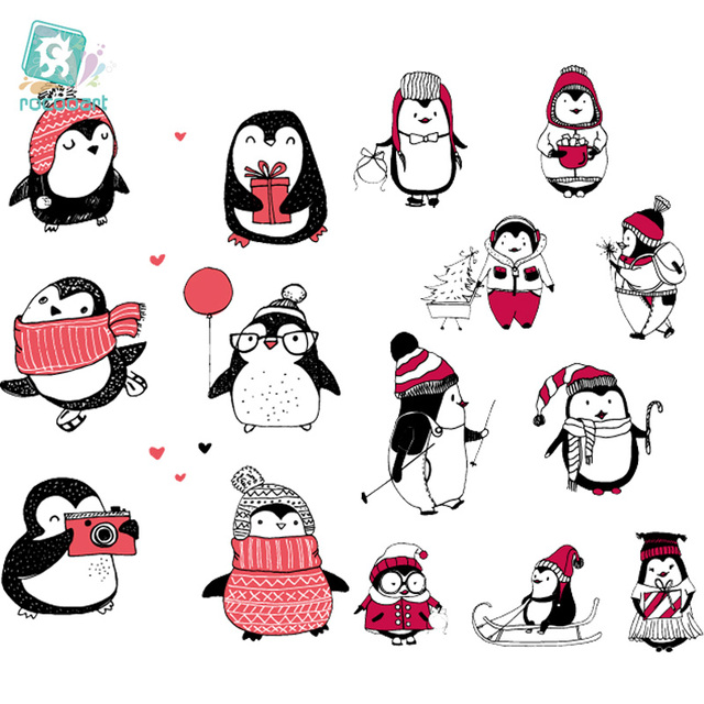 EC742-750 Penguin Series Tattoo Sticker Cartoon Children Cute Merry Christmas Temporary Tattoo Sticker Body Art Flash Taty