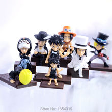 New anime one piece Luffy Sanji Ace Law Mihawk Sabo pvc action figure collection doll kids model toys juguetes brinquedos hot