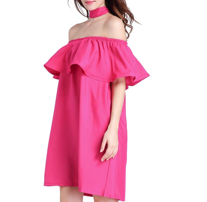 Women dress Solid Off Shoulder Loose Slash neck Dresses Summer Casual ruffles High Waist Sleeveless ladies elegant Red Dresses