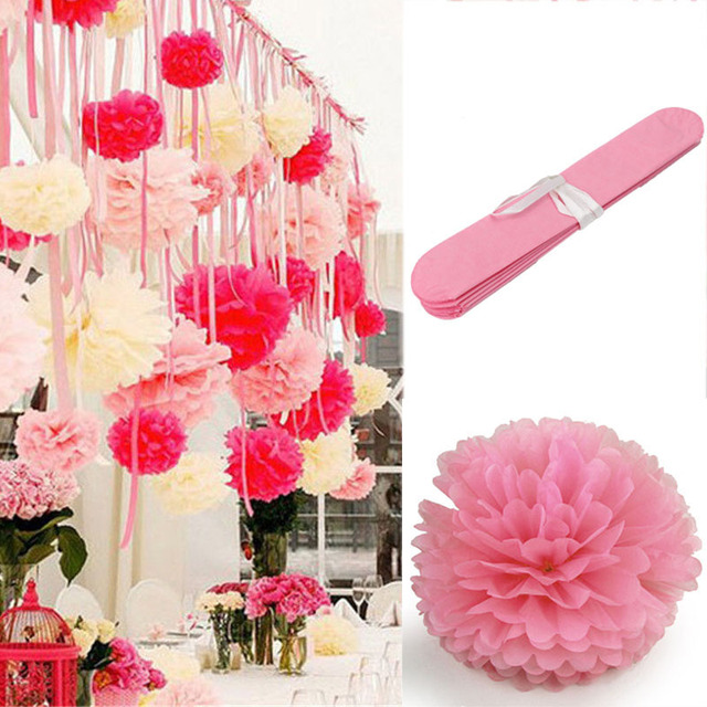 20pcs 15cm6inch pink tissue paper flower pompoms pom poms kissing 20pcs 15cm6inch pink tissue paper flower pompoms pom poms kissing balls crafts home wedding mightylinksfo Image collections