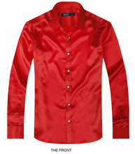 Red Luxury the groom shirt male long sleeve wedding shirt men's party Artificial silk dress shirt M-3XL 21 colors FZS14