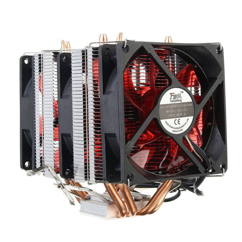 4 Copper Pipe Cooling Fan Red LED Three CPU Cooler Fan Aluminum Heatsink for Intel LGA775 / 1156/1155 AMD AM2 / AM2 + / AM3 ED 2016 new ultra queit hydro 3pin fan cpu cooler heatsink for intel for amd z001 drop shipping