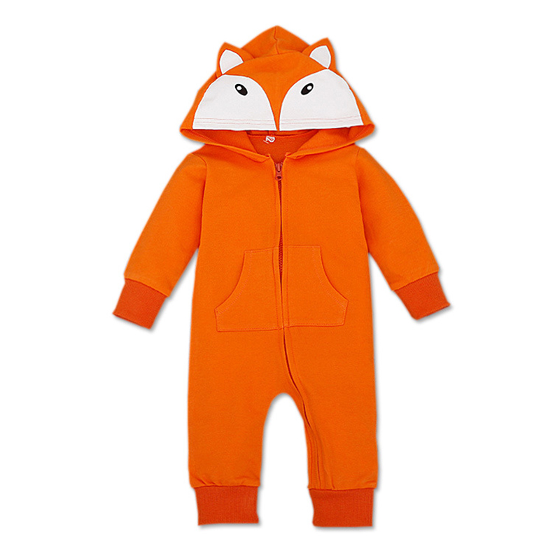 New Born Baby Clothes Long Sleeve Little Fox Ear Baby Boy Hoodie Jumpsuits 2017 Autumn Zipper Baby Boy Rompers Halloween Costume