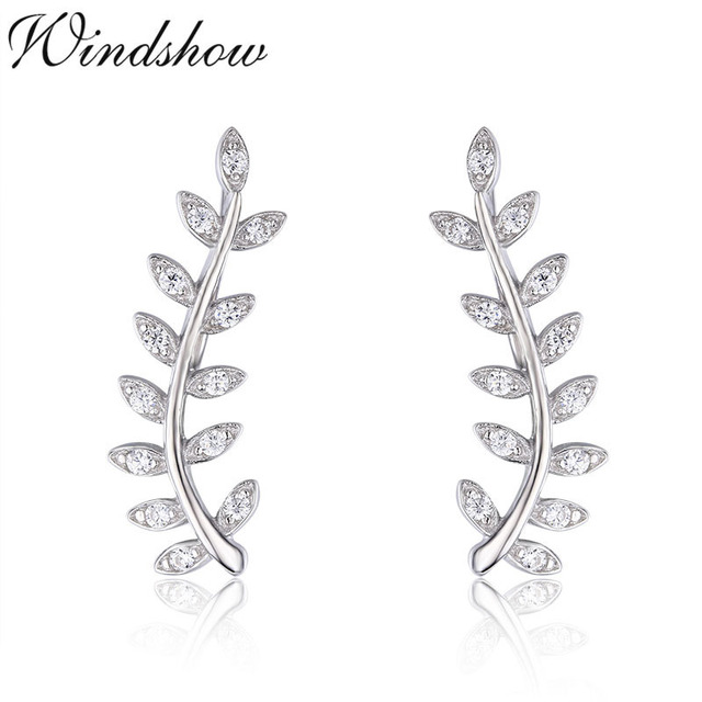 5f9c7a60a5ed 925 Sterling Silver Olive Branch Set CZ Leaf Ear Climber Stud Earrings For  Women Girls Jewelry Orecchini Aros Aretes Ear Jacket