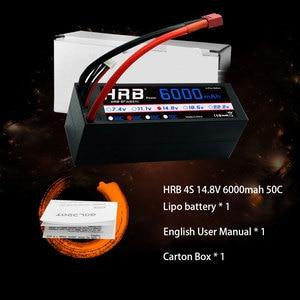 Image 5 - 2 יחידות HRB RC Lipo סוללה 4S 14.8V 6000mah 50C פרץ 100C Hrad מקרה דיקני תקע עבור RC באגי Truggy Crawler מפלצת סירת משאית