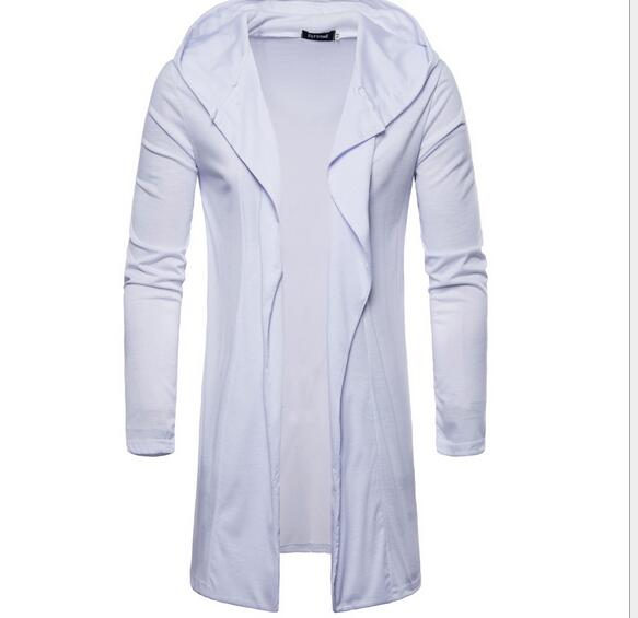 2018 European fashion hooded cardigan casual European and American style solid color long-sleeved thin