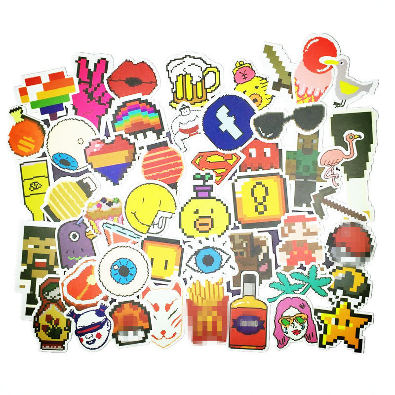 48Pcs/lot Cartoon Pixel Style Mosaic Sticker For Car Laptop Luggage Skateboard Tables Case Decal Kids Toy Waterproof sticker