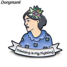 P3785 Dongmanli Virginia Woolf Thinking is my Fighting Metal Enamel Brooches and Pins Lapel Pin Backpack Badge Collar Jewelry