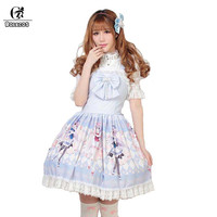 ROLECOS Princess Lolita Dress For Girls Party Lovely Sleeveless Strap Sweet Lolita Dress Blue Cute Lace Bownot Dress Women 2018