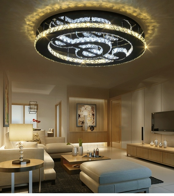 Modern warm and romantic living room bedroom study lamp balcony lamp remote control round LED music symbol ceiling lamp