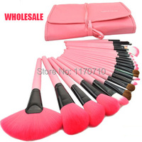 Wholesale 2014 Hot Professional Makeup Brush Set Pink Makeup Brushes 24PCS Set Including A Deluxe Carrying