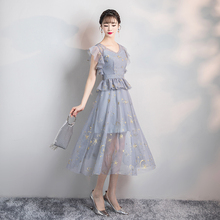 Bridesmaid Dress New Korean Version Off Shoulder  Sister Grey Embroidery Short Inner Lining Midi back of zipper